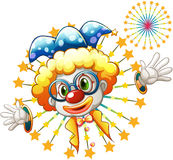 A fireworks with a clown. Illustration of a fireworks with a clown on a white background Stock Image
