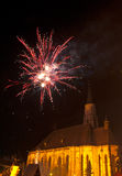 Fireworks in Cluj Napoca. Romania with St. Michaels church in background Royalty Free Stock Photography