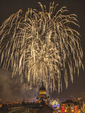 Fireworks in Cluj Napoca. Beautiful fireworks show takes place in Avram Iancu Square in Cluj Napoca with the ocassion of The Romanian National day on 1 December Stock Photography