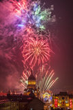 Fireworks in Cluj Napoca. Beautiful fireworks show takes place in Avram Iancu Square in Cluj Napoca with the ocassion of The Romanian National day on 1 December royalty free stock images