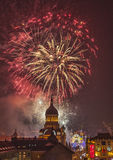 Fireworks in Cluj Napoca. Cluj Napoca,Romania- December 1st,2013: Beautiful fireworks show takes place in Avram Iancu Square in Cluj Napoca with the ocassion of Stock Photo