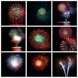 Fireworks collage. Colorful fireworks of various colors  - collage Royalty Free Stock Images