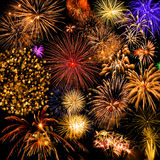 Fireworks collage. Vibrant colors on black. Fireworks series Royalty Free Stock Images