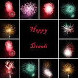 Fireworks collage for celebration of  festival Diw. Ali, Diwali is one of the most  important holidays in Asia, especially India Stock Image