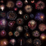 Fireworks Collage. Variety of fireworks on black royalty free stock images