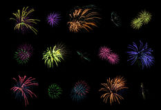 Fireworks collection Stock Photography