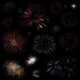 Fireworks collection. Collection of different firework bursts isolated on black background Stock Photos