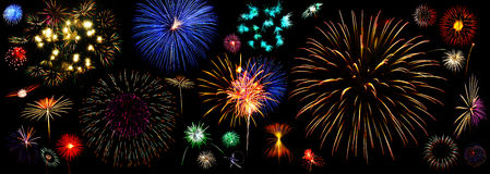 Fireworks collection. Many type of fireworks Royalty Free Stock Image
