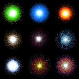 Fireworks collection. Large collection of brightly coloured firework explosions Stock Photo