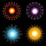 Fireworks collection. A collection of four brightly coloured firework explosions Royalty Free Stock Images