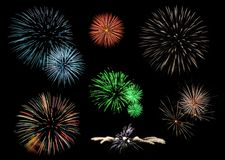 Fireworks collection. Collection of firework explosions Royalty Free Stock Image