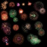 Fireworks collection. Big collection of firework explosions Stock Image