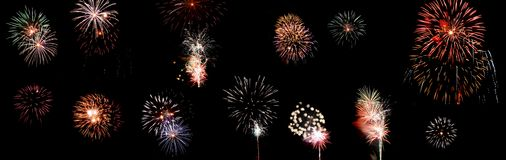 Fireworks Collection. Several fireworks all in one file Royalty Free Stock Photo