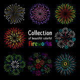 Fireworks collection on black background. Colorful fireworks collection on black background. Fireworks set vector illustration Royalty Free Stock Image