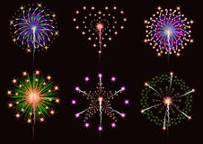 Fireworks collection  set. For graphic or website layout Stock Images