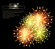 Fireworks color green orange 2013. Template blank Royalty Free Stock Photo