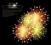 Fireworks color green orange 2013. Template blank vector illustration