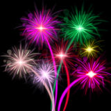 Fireworks Color Represents Explosion Background And Celebrate Stock Image