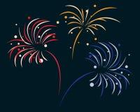 Fireworks. Colored bursting fireworks in the dark sky Royalty Free Stock Image