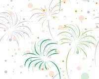 Fireworks. Colored bursting fireworks on white seamleess background royalty free illustration