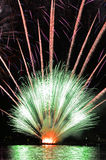 Fireworks. Colored fireworks on a river Stock Photography
