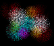 Fireworks colorful  background. Beautiful Vector Fireworks for happy new year Royalty Free Stock Images