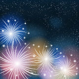 Fireworks colorful background. Vector illustration Stock Image