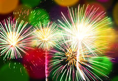 Fireworks with colorful bokeh lights Royalty Free Stock Photo