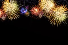 Fireworks explosions on black royalty free stock photo
