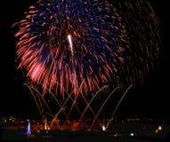 Fireworks,colorful fireworks background,fireworks explosion in dark sky with village silhoutte in Zurrieq,Malta, fireworks in Malt Royalty Free Stock Image