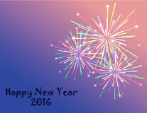 Fireworks. Colorful fireworks with Happy New Year text vector illustration Royalty Free Stock Images