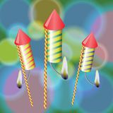 Fireworks. Colorful illustration with fireworks on a blurred background for your design Royalty Free Stock Images