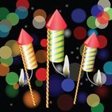 Fireworks. Colorful illustration with fireworks on a blurred background for your design Stock Images