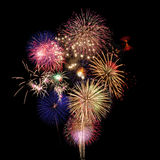 Fireworks. Colorful fireworks isolated on Black Royalty Free Stock Photography