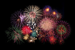 Fireworks. Colorful fireworks isolated on Black Stock Photography