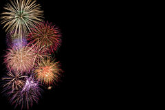 Fireworks. Colorful fireworks isolated on Black Stock Photo