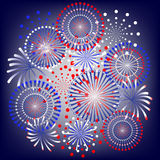 Fireworks. In colors of usa flag Stock Photos