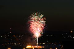 Fireworks on Commencement Bay. Taken on the 4th of July and shot from a barge royalty free stock photography