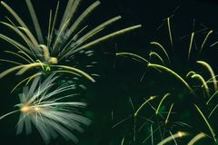Fireworks Competition. Explosive pyrotechnic devices for aesthetic and entertainment purposes, art. For the backdrop for. Scene from Fireworks Competition Royalty Free Stock Image