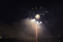 Fireworks competition at night Royalty Free Stock Photo