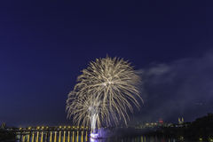 Fireworks competition at night Royalty Free Stock Images