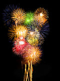 Fireworks Composition. Vibrant colors on black. Fireworks series Royalty Free Stock Image