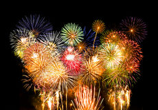 Fireworks Composition. Vibrant colors on black. Fireworks series Stock Images