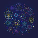 Fireworks composition for festival, holiday or winner poster. Trendy congratulations banner with fireworks in linear style. Greeting card composition. Vector royalty free illustration