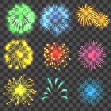 Fireworks concepts set, realistic style. Fireworks concepts set. Realistic illustration of 9 fireworks vector concepts for web Stock Images