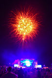Fireworks at concert 2 Royalty Free Stock Photo
