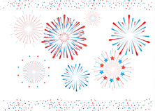 Fireworks and confetti isolated. Fireworks Confetti red and blue color isolated on white background. Patriotic Greeting card template. Border pattern For royalty free illustration