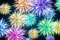 Fireworks and copy space - abstract holiday background vector. Art Stock Photos
