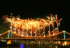 Fireworks with Copyspace. At the top Royalty Free Stock Photo