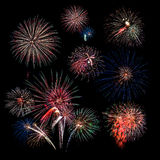 Fireworks with Corner Grouping Royalty Free Stock Photo